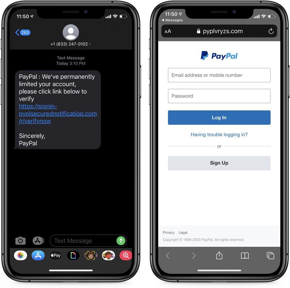 PayPal smishing