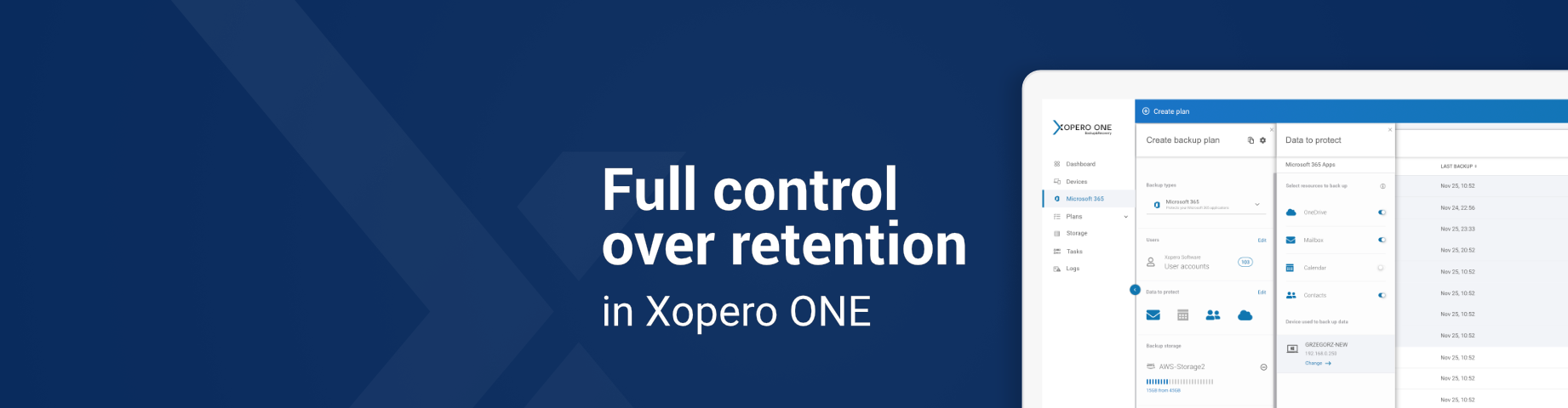 Retention policies in Office 365 vs full control over retention in Xopero ONE
