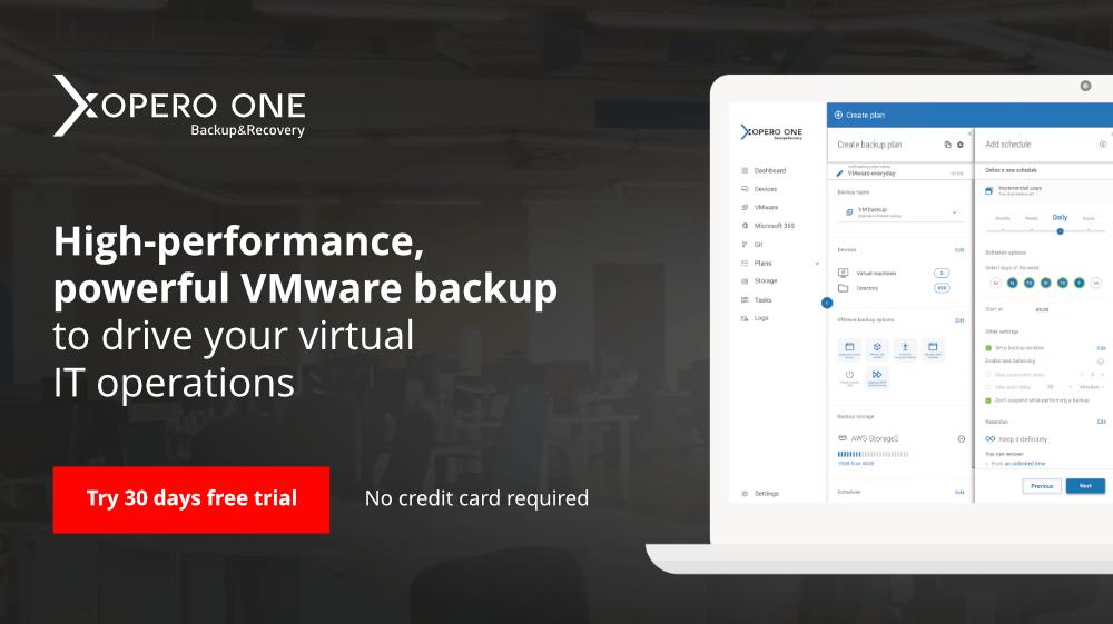 Xopero ONE VMware backup free trial
